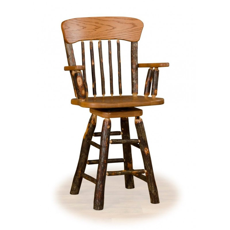 Rustic Hickory Panel Back Swivel Counter Stool With Arms