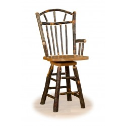 "Rustic Hickory 24"" Wagon Wheel Swivel Counter Stool with arms - Hickory & Oak or All Hickory"