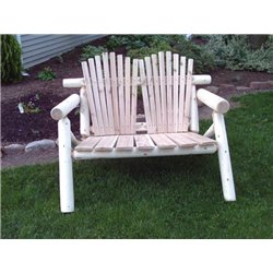 Rustic White Cedar Log Adirondack Love Seat