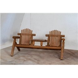 Adirondack Settee with Center Table - Heart Redwood Stain