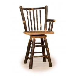 "Rustic Hickory 24"" Stick Back Swivel Counter Stool with arms - Hickory & Oak or All Hickory"