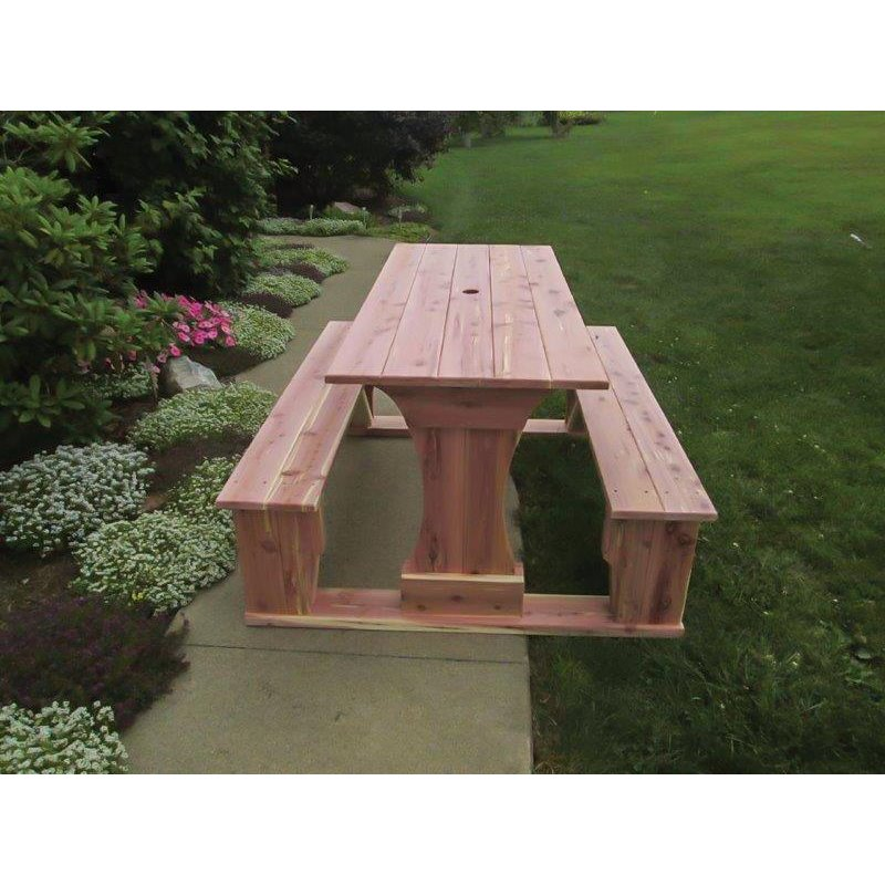 Commercial Grade Indoor/Outdoor Red Cedar Pub Trestle Table   4, 5, 6 ...