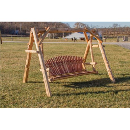 Rustic White Cedar Log Adirondack 4/5 Foot Swing with A-Frame