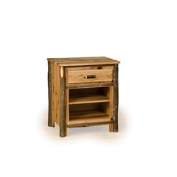 Rustic Hickory 1 Drawer and 1 Shelf Nightstand