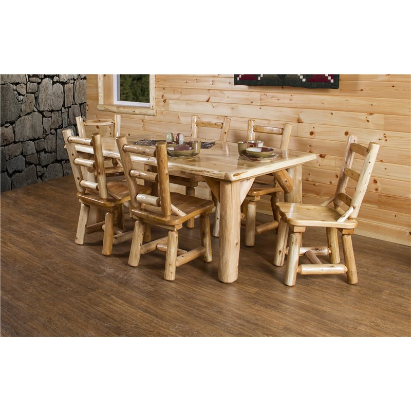 "Amish Rustic Plank Top Dining Set Round Pedestal Solid: Rustic White Cedar Log 84"" Dining Table Set With 8 Chairs"