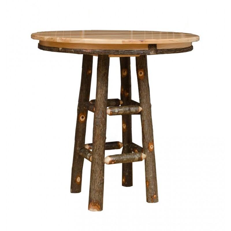 rustic hickory 36 tall pub table with 4 stick back swivel bar stools