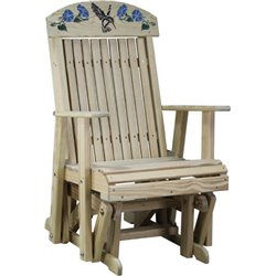 Pressure Treated Pine Hummingbird Imprinted Glider Chair