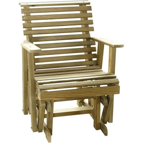 Pressure Treated Pine Unfinished Rollback Glider Chair