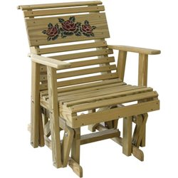 Pressure Treated Pine Rollback Rose Glider Chair