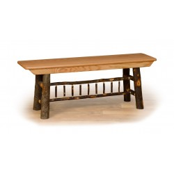 Rustic Hickory Farm Bench - 2/3/4/5 ft. - Hickory & Oak or All Hickory
