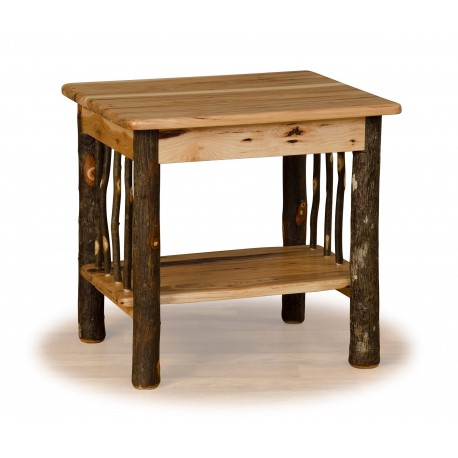 Rustic Hickory Log End Table - Hickory & Oak or All Hickory