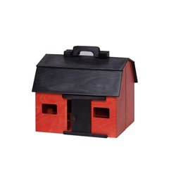 Large Wood Folding Portable Barn Set - Red with Black Roof