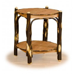 Rustic Hickory & Oak 2 Tier Round End Table