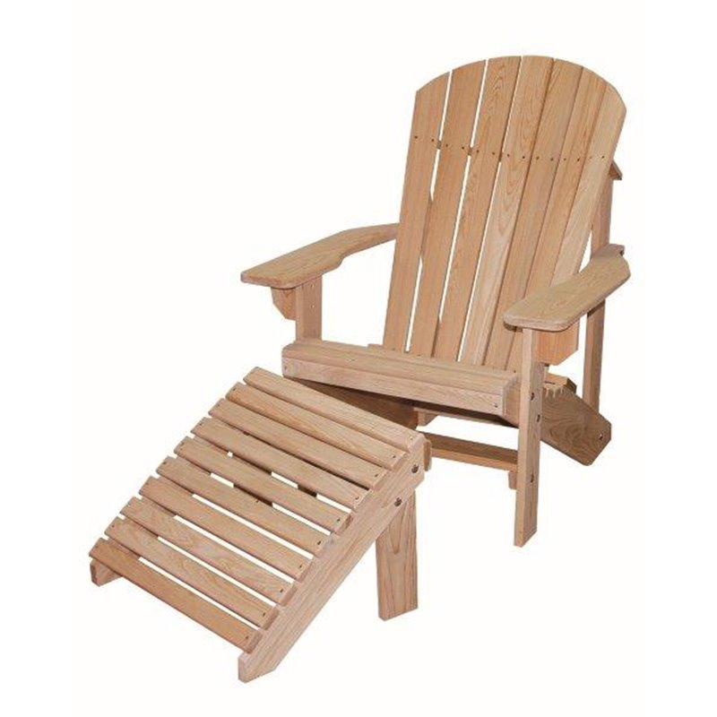 Cypress Wood Adirondack Chair With Footrest