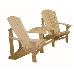 Cypress Wood Adirondack Chairs with Center Table Connector