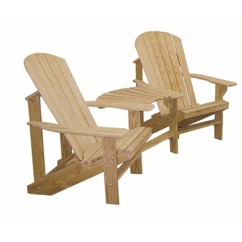 Cypress Wood Adirondack Chairs With Center Table Connector ...