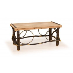 Rustic Hickory & Oak Slat Top Coffee Table