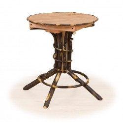 Rustic Hickory Round Pedestal End Table