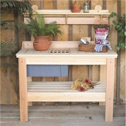 Unfinished Cypress Potting Table with Bucket