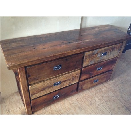 Rustic Natural Reclaimed Barn Wood 6-Drawer Dresser - Clear Varnish