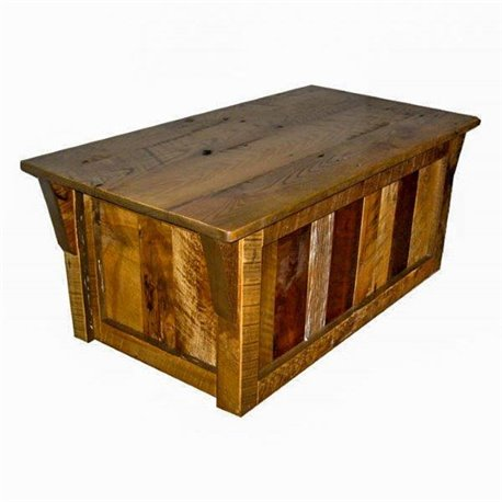 Rustic Natural Reclaimed Barn Wood Blanket Chest - Clear Coat