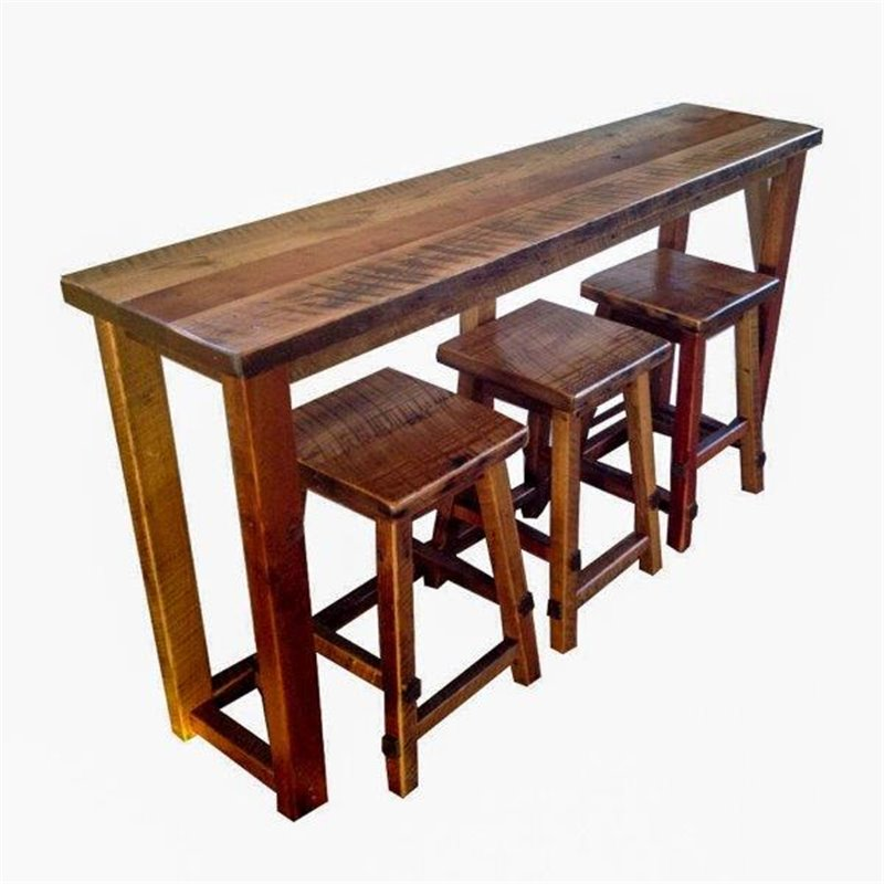 Reclaimed Barn Wood Breakfast Bar Set Bar Height