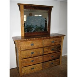 Rustic Natural Reclaimed Barn Wood 8-Drawer Dresser with Mirror - Clear Coat Finish