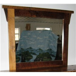 Rustic Natural Reclaimed Barn Wood Mirror Frame in Clear Coat Finish