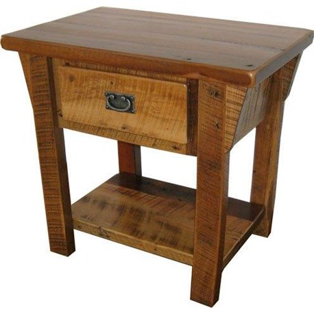 Rustic Natural Reclaimed Barn Wood 1-Drawer Nightstand/End Table