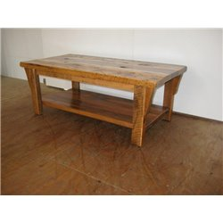 Rustic Natural Reclaimed Barn Wood Coffee Table - Clear Coat Finish
