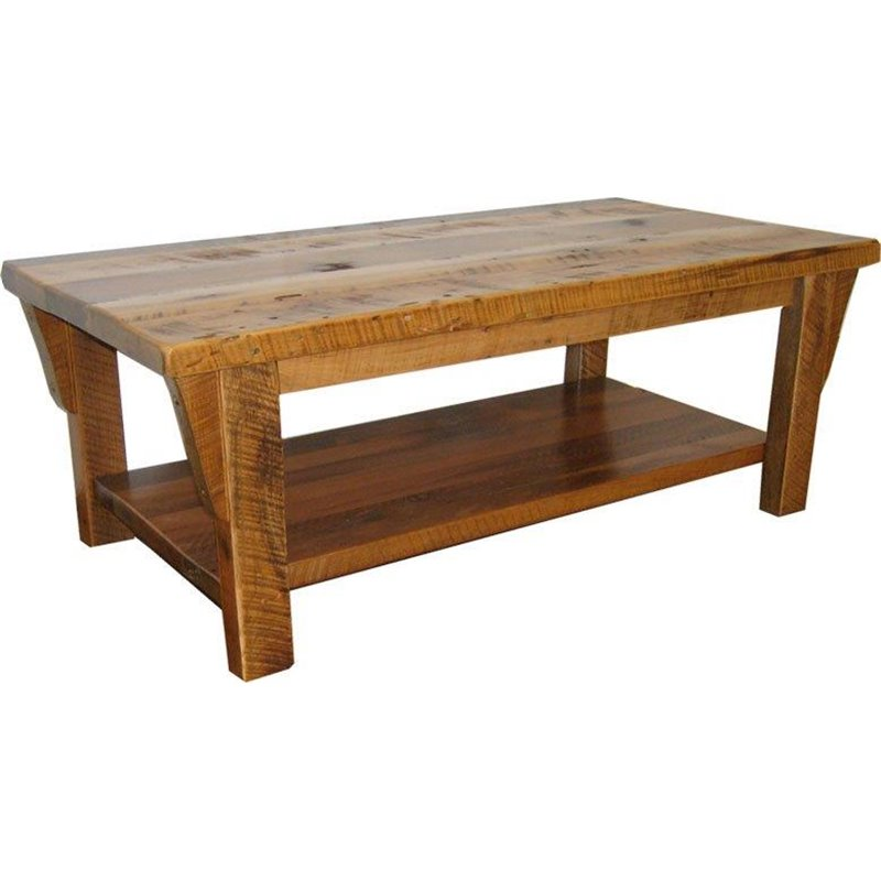 Rustic Natural Reclaimed Barn Wood Coffee Table Clear Coat Finish