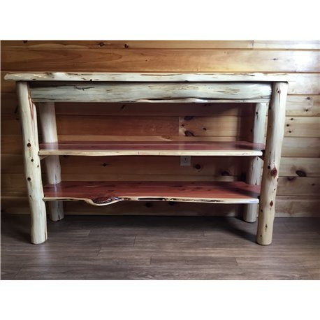 Beau Rustic Red Cedar Log Live Edge TV Stand / Console Table