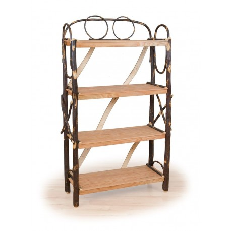 Rustic Hickory & Oak Four Shelf Fancy Book Shelf
