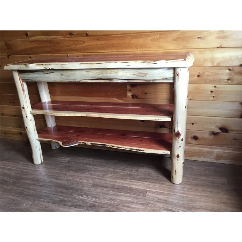... Rustic Red Cedar Log Live Edge TV Stand / Console Table ...