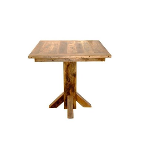 Rustic Reclaimed Barn Wood Pedestal Pub Table 36 Inch Square Top