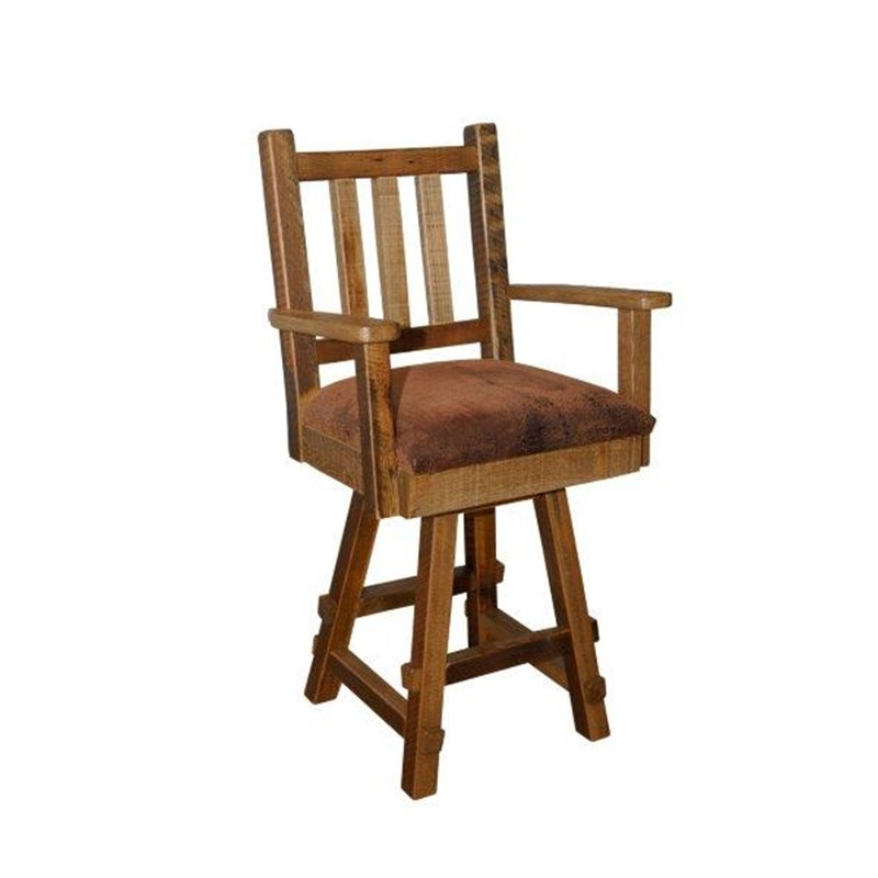 reclaimed barn wood upholstered seat bar stool with back and arms. Black Bedroom Furniture Sets. Home Design Ideas