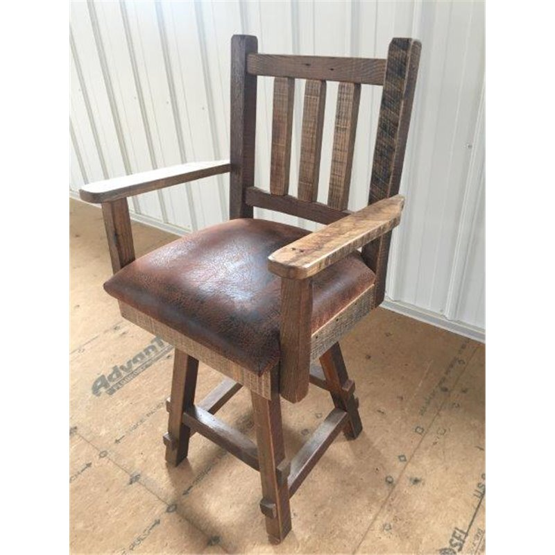 Reclaimed Barn Wood Upholstered Seat Bar Stool With Back