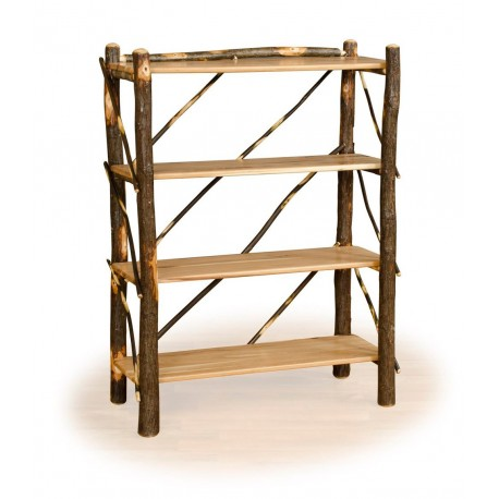 Rustic Hickory & Oak Four Shelf Book Case