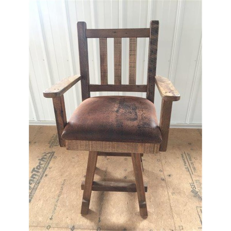 Reclaimed Barn Wood Upholstered Seat Bar Stool with Back ...