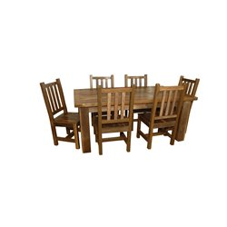 Rustic Reclaimed Barn Wood Dining Table with 6 chairs - Natural Clear Varnish