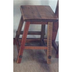 Rustic Reclaimed Barn Wood Square Top Stool - Counter or Bar Height (Urban Distress Stain)