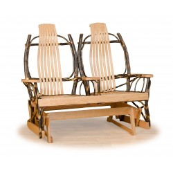 Rustic Hickory Double Glider - Hickory & Oak or All Hickory