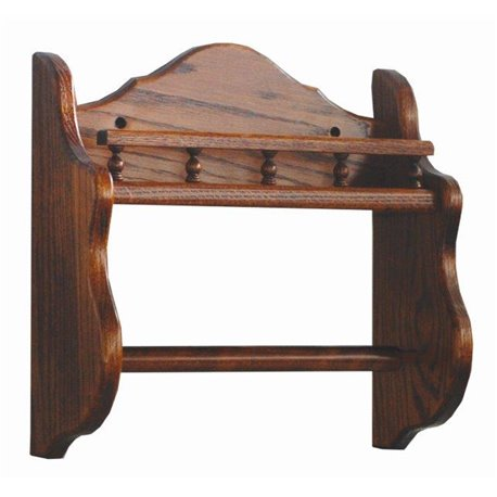 Oak Wall Mounted Paper Towel Holder with Rack