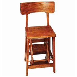Counter Height Oak Stool with Flip Out Steps - Michael's Cherry Stain