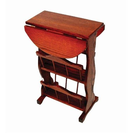 Oak Drop Leaf Accent Table with 2 Storage Racks