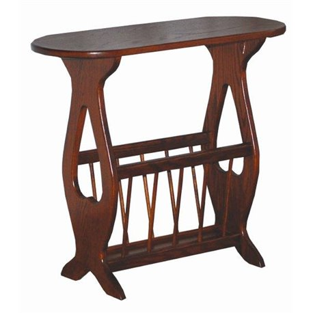 Oval Top Oak Accent Table with Storage Rack
