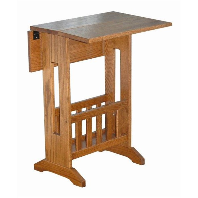 Mission Style Double Drop Leaf Oak Accent Table With