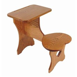Oak Toddler Size Desk with Attached Heart Shaped Seat