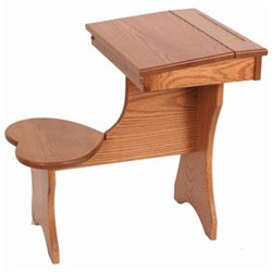 Oak Toddler Size Lift Top Desk with Attached Heart Shaped Seat