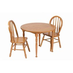 Heirloom Child's Round Oak Table and Chairs Set